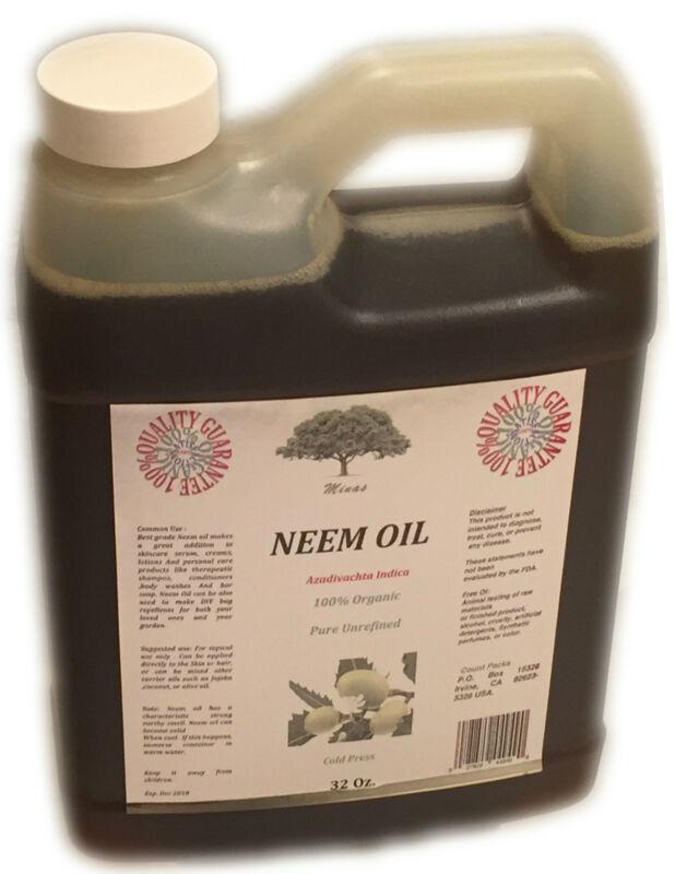 32 Oz Neem OIL 100% Pure Virgin ORGANIC COLD PRESSED DIY Neem OIL