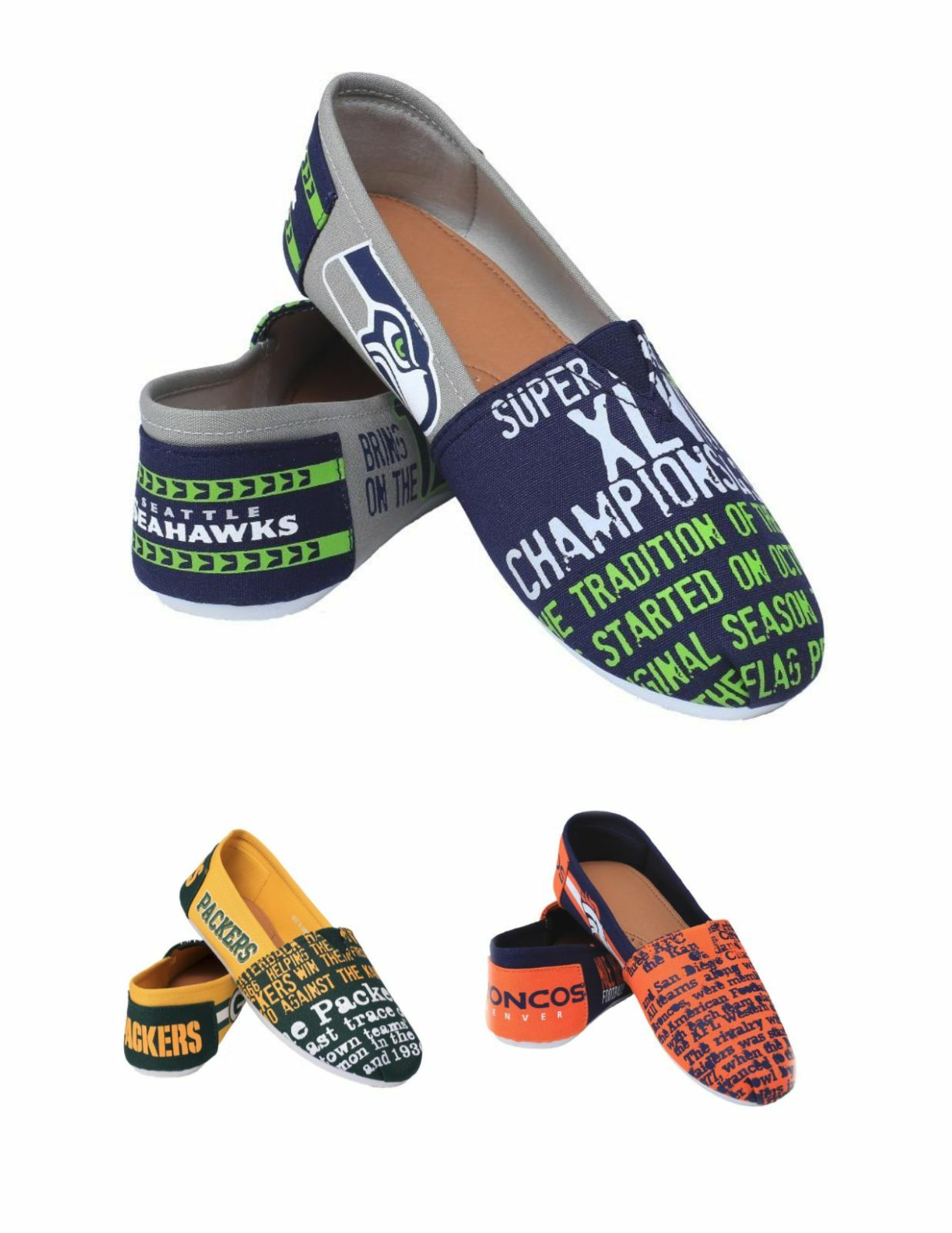 NFL Football Team Logo Womens Ladies THEMATIC Canvas Shoes - Pick Your Team!