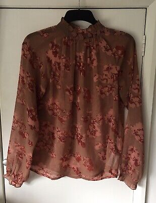 ICHI Floral Print Chiffon Blouse Top Size 10 Vintage ROSE  New £35 tags 💜