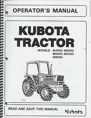 Kubota M4950 M5950 M6950 M7950 M8950 Tractor Operators Manual Wcab 35830-99714
