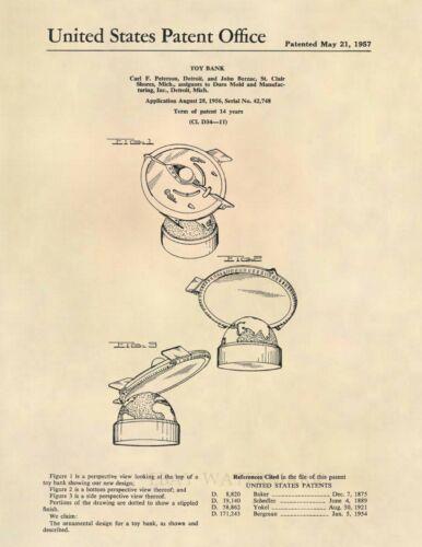 Flying Saucer Mechanical Coin Bank Patent Art Print - Vintage Antique UFO 586