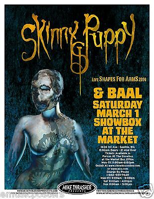 "SKINNY PUPPY & BAAL ""LIVE SHAPES FOR ARMS 2014 TOUR"" PORTLAND CONCERT POSTER"