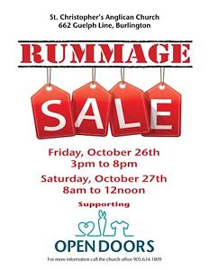 Donations needed for Rummage Sale at St. Christopher's.