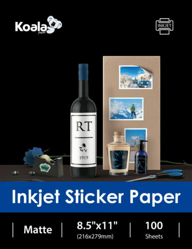 Koala 100 Sheet 8.5x11 Premium Adhesive Matte Inkjet Sticker Printer Photo Paper