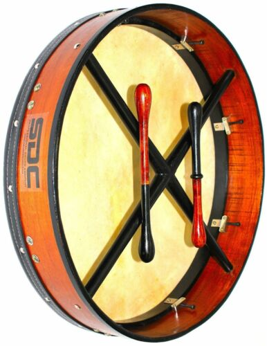 BODHRAN TUNABLE  DRUM Irish Celtic 18 Inch Drums + CASE + 2 Tippers ROSEWOOD