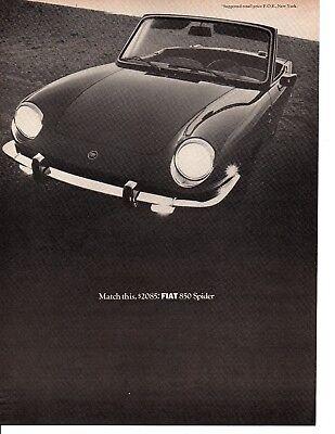 1968 FIAT 850 SPIDER  ~  NICE ORIGINAL PRINT AD