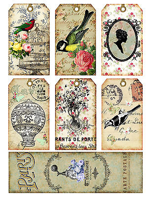 French Romance Hang Tags and Bookmark Shabby Chic Scrapbooking,Paper Crafts - Shabby Chic Scrapbook Paper