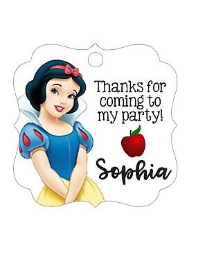 Personalized Snow White princess Disney, birthday party favor tags- square -