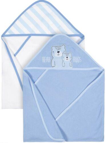 Gerber Baby Boy Hooded Towel Cotton Terry ~ 2 Towels ~ Blue ~ Bear