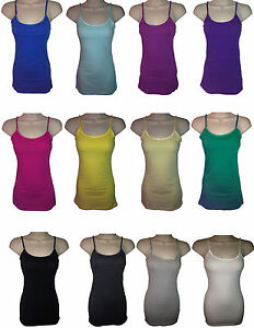 Thick-Long-Adjustable-Spaghetti-Strap-Tank-Top-Cami-Small-Medium-Large