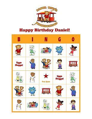 Daniel Tiger's Neighborhood Personalized Birthday Party Game Bingo Cards