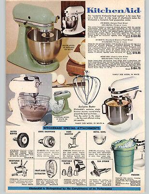 1972 PAPER AD Kitchenaid Electric Food Mixer Green White Vintage