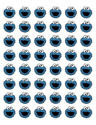 48 COOKIE MONSTER ENVELOPE SEALS LABELS STICKERS 1.2
