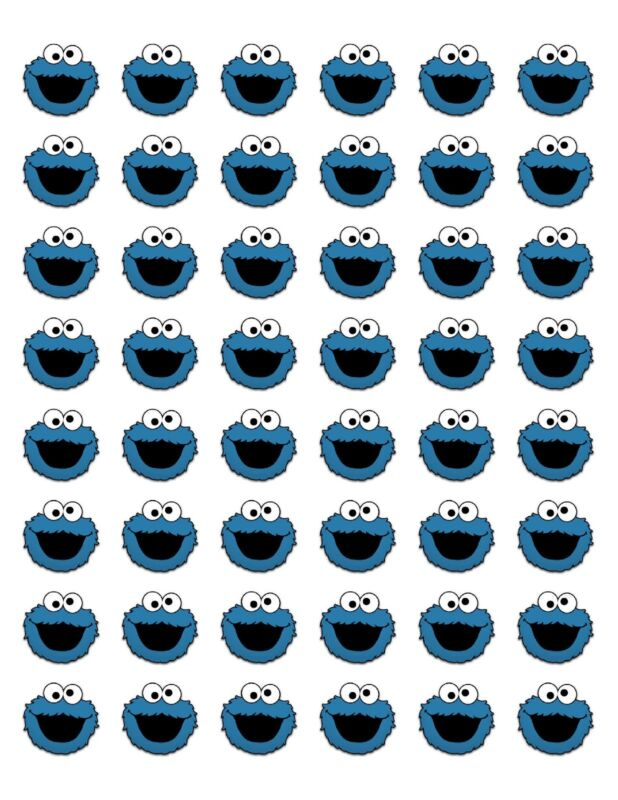 "48 COOKIE MONSTER ENVELOPE SEALS LABELS STICKERS 1.2"" ROUND"