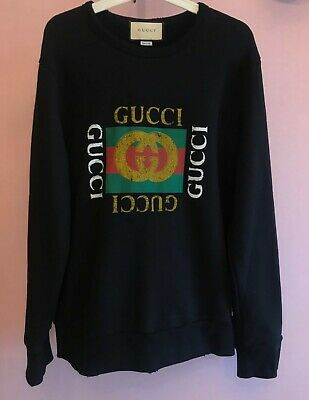 Black Cotton sweatshirt with Gucci Logo Vintage Size L