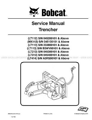 Bobcat Trencher Revision 2015 Printed Service Manual 6903281