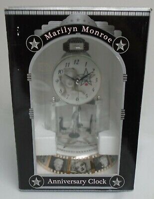 NEW MARILYN MONROE ANNIVERSARY GLASS DOME CLOCK PORCELAIN BASE DIAL RARE IN BOX