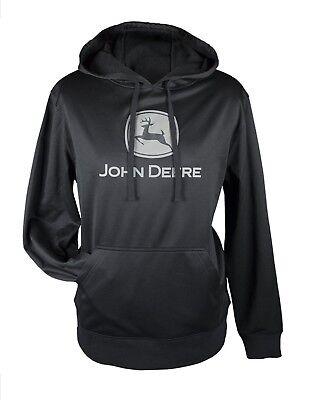 NEW John Deere Black Classic Logo Poly Fleece Hoodie Sweatshirt , L,XL,2XL,3XL  John Deere Poly Fleece