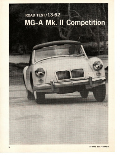1962 MG-A Mk II COMPETITION ~ ORIGINAL 4-PAGE ROAD TEST / ARTICLE / AD