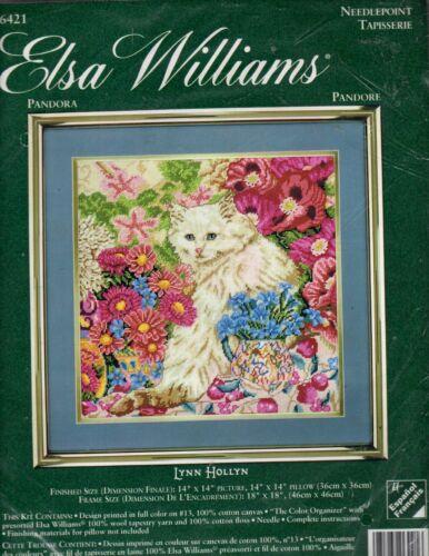 Elsa Williams PANDORA needlepoint kit , Lynn Hollyn- Cat,Floral - New