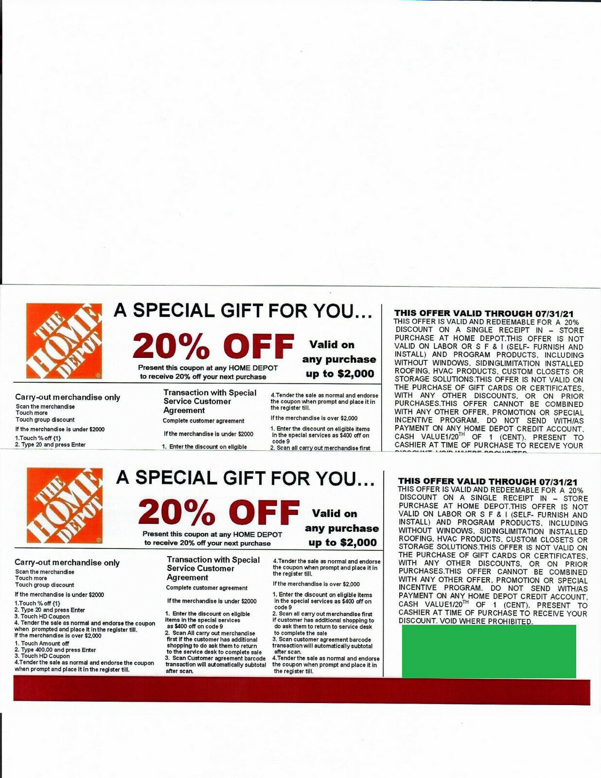 2 20 OFF HOME DEPOT Competitors Coupon Expires 7/31/21 - $10.00