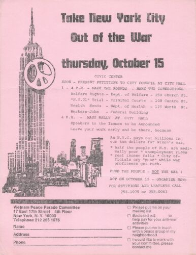 """VIETNAM -- 1970 """"TAKE NYC OUT OF THE WAR"""" OCTOBER 15, 1970 PROTEST FLYER"""