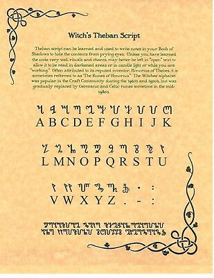 Book of Shadows Spell Pages **Learn the Theban alphabet - the witch's script! - Witches Spell Book
