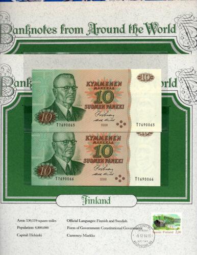 World Banknotes Finland 1980 10 Markkaa P-111a UNC Kullberg-Puntila Consecutive