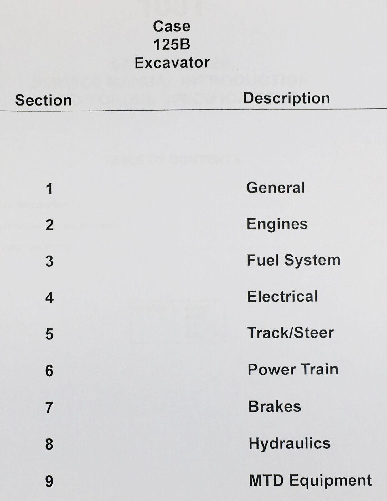 CASE 125B EXCAVATOR CRAWLER SERVICE CATALOG MANUALS ENGINE REPAIR TECHNICAL SHOP