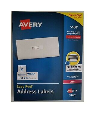 Avery 5160 Address Labels - 1 X 2 58 - 150 Total - 5 Sheets - Blank White