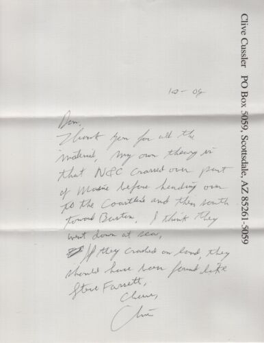 CLIVE CUSSLER HAND SIGNED TYPED LETTER WITH GREAT CONTENT   RAISE TITANIC AUTHOR