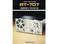 Pioneer RT-707 Reel to Reel Tape Deck Service Manual /& Schematics on CD
