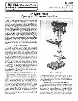 Delta Milwaukee 17 Drill Press Operating Maintenance Parts Manual Pm 1519