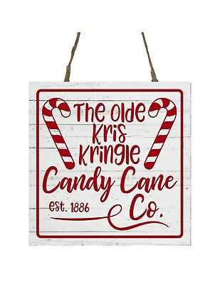 Kris Kringle Candy Cane Co Printed Handmade Wood Christmas Ornament Small Sign