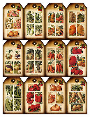 Farmers Market Vegetable gift tags x 12 each one a different design 250gsm card