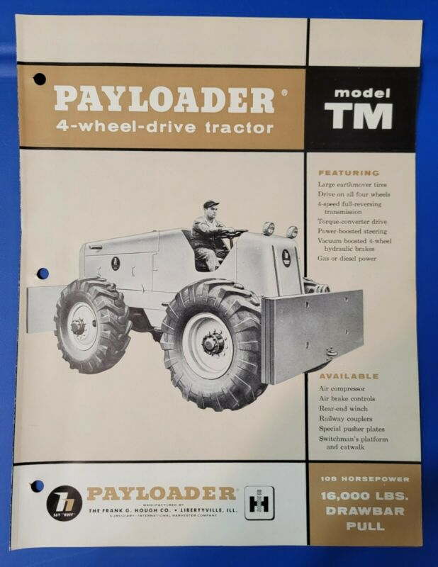 Model TM International Harvester Hough Payloader 4 Wheel Drive Tractor Brochure