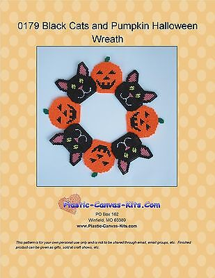 Halloween Black Cats (Black Cats and Pumpkins Halloween Wreath-Plastic Canvas Pattern or)