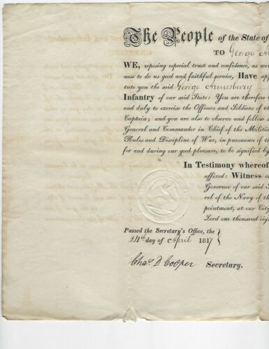 New York Governor John Tayler Signature 1817 Military Appointment Autograph