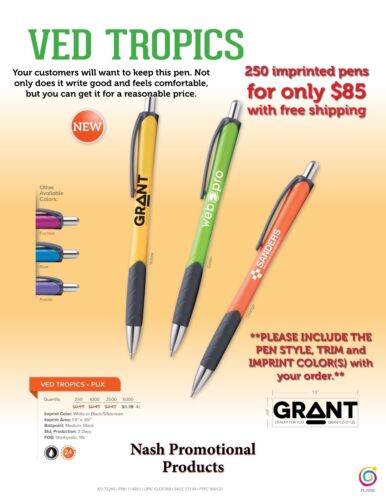 Pens Imprinted Promotional Ink Pens 250, Ships in 2-3 days after proof approval.