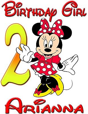 Personalized Custom Minnie Mickey Mouse Birthday Shirt for Family Party -Red Min - Mickey Mouse For Birthday Party