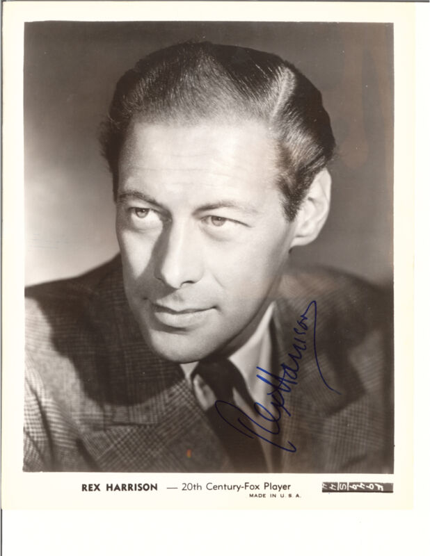 REX HARRISON PLAID SUIT COAT SIGNED PHOTO AUTOGRAPHED W/COA 8X10