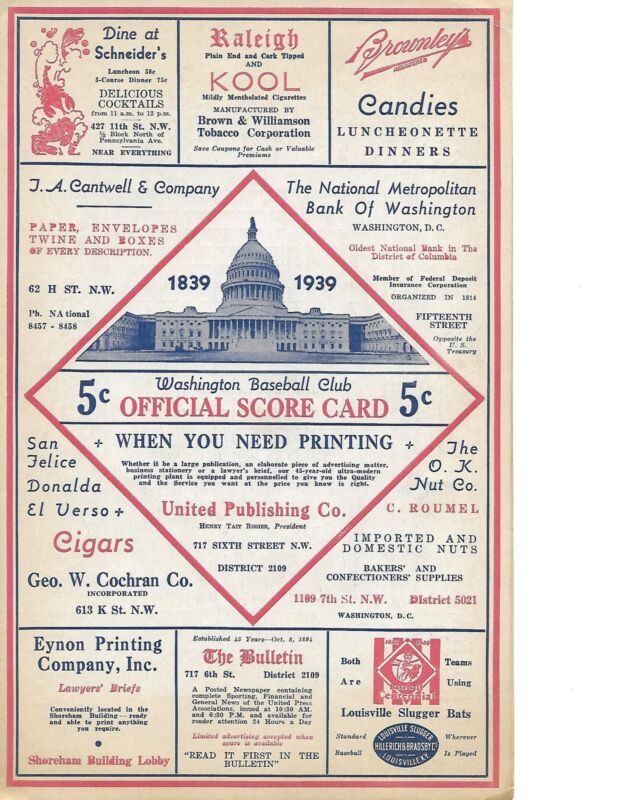 1939 Washington Senators-Yankees Program/Scorecard Sens Thump Yanks GEM!!