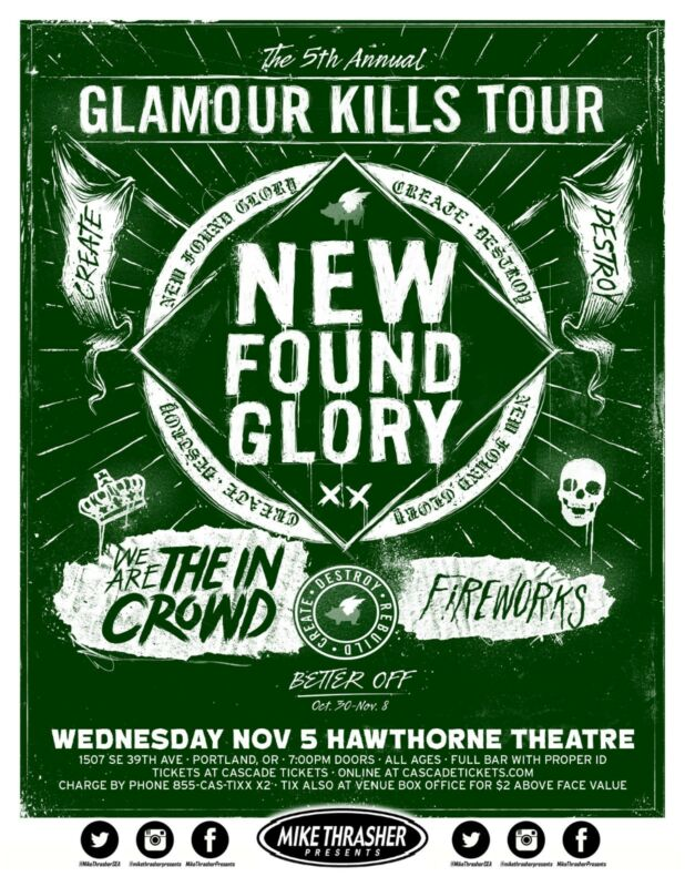 "NEW FOUND GLORY / THE IN CROWD 2014 ""GLAMOUR KILLS TOUR"" PORTLAND CONCERT POSTER"