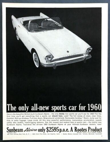 1960 Sunbeam Alpine Convertible photo British-Built Sports Car vintage print ad