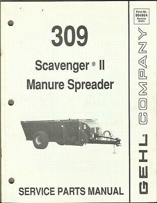Gehl Company Manure Spreader Scavenger Ii 309 No. 904964 Tractor Parts Manual