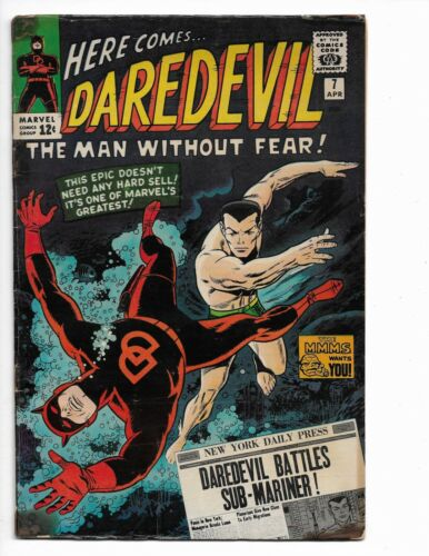 DAREDEVIL 7 - VG- 3.5 - 1ST RED COSTUME - BATTLING SUB-MARINER (1965)