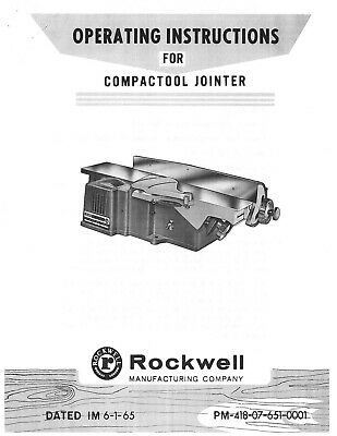 37-000 Rockwell 4 Compactool Jointer Instruction Maintenance Parts Manual Cd