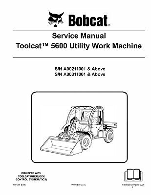 Bobcat 5600 Toolcat Utility Vehicle Service Manual On Cd