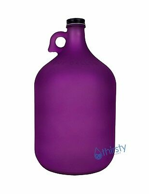 1 Gallon Frosted Glass Water Bottle Jar Jug Canteen Brew Container Carboy PURPLE