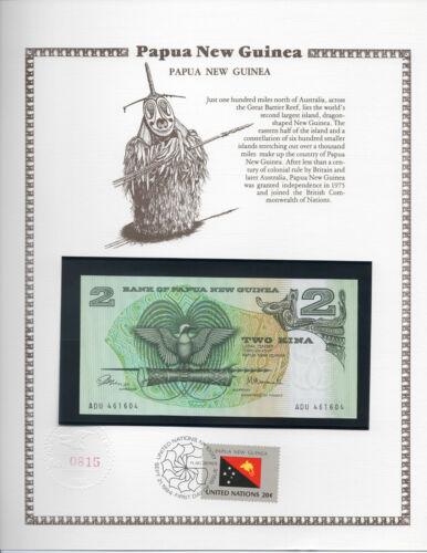 Papua New Guinea Banknote 1981 2 Kina P 5a UNC UN FDI FLAG STAMP Prefix ADU